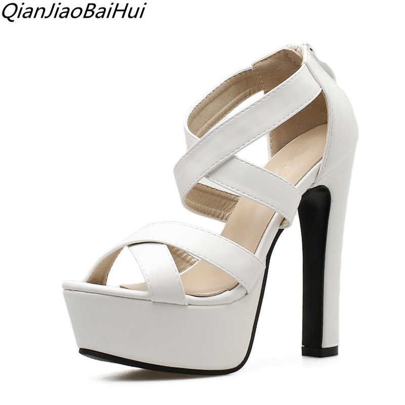 Fashion Womens Sandals Summer 2018 women gladiator sandals Open Toe Block Ultra Heel Shoes White platform Sandals For Women women creepers shoes 2015 summer breathable white gauze hollow platform shoes women fashion sandals x525 50