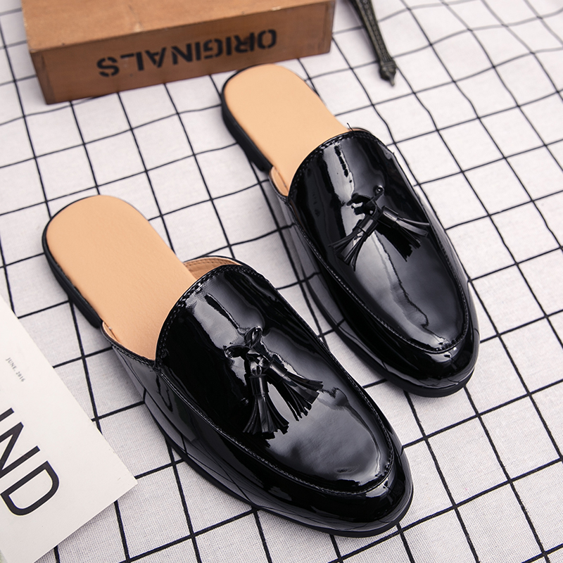 Brand Summer Men Slippers Male Leather Flip Flops For Man Vintage Casual Beach Sandals Non-slide Zapatos Hombre Black White Shoe