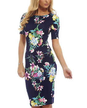 Women Dress Vestidos Summer Print Sexy Plus Size Work Business Casual Party Sheath ES0100 short dresses office wear