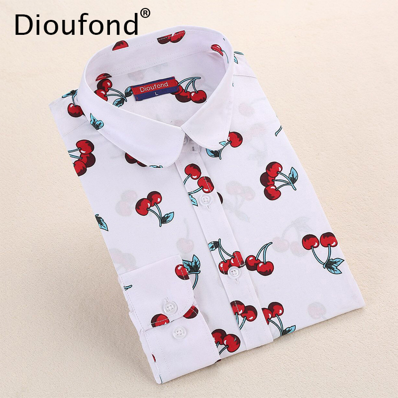 Dioufond New Floral Long Sleeve Vintage Blouse Cherry Turn Down Collar Shirt Blusas Feminino Ladies Blus Womens Tops Fashion