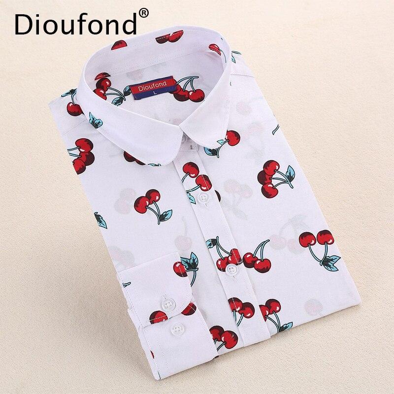 Dioufond new floral long sleeve vintage camicetta cherry turn imbottiture colletto della camicia blusas feminino signore camicette da donna magliette e camicette moda