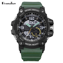 BOUNABAY Waterproof Sports Watches Men Analog Quartz Digital Watch LED Electronic Watch Shock Resistant Clock Relogio Masculino