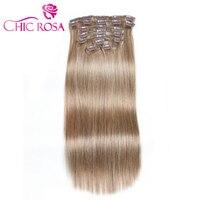 Шикарный ROSA #8 клип в наращивание волос 90 г человеческих волос 10 шт. 14 16 дюймов полный голова Волосы remy 5 цветов Aviliable