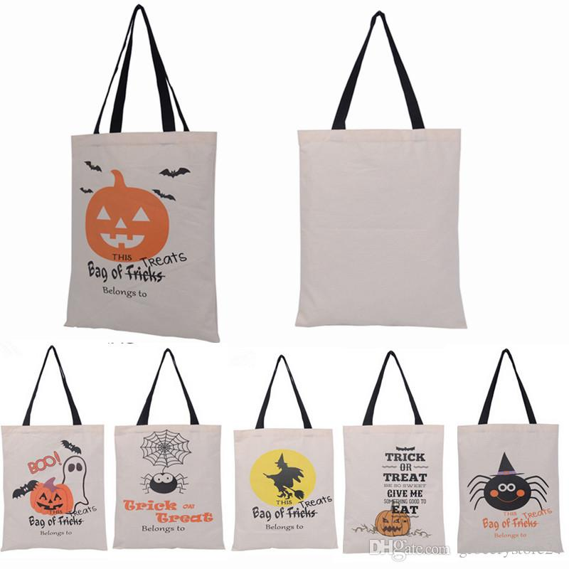Halloween Bags orange and black polka dot halloween favor bags 50ct 100pcs 6 Types Halloween Tote Bags With Black Handle Pumpkin Christmas Shopping Bags Festival Gifts Bag