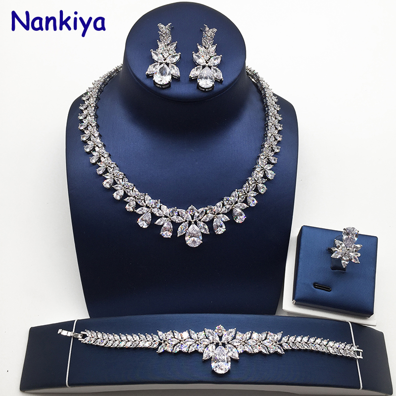 Nankiya High Quality TearDrop Shape Wedding Jewelry Set Sparkling Zirconia Bridal Accessory Hotsale 4PCS Set for Lady MarryNC184