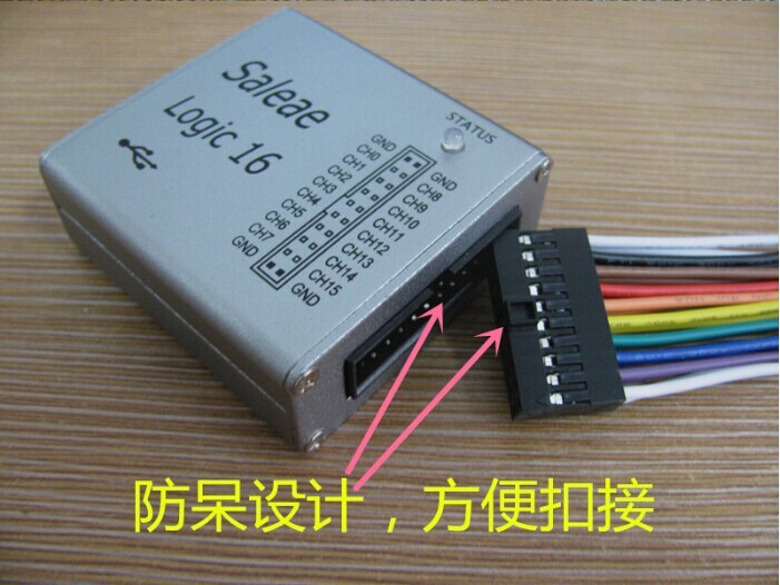 Mini 16 Logic Analyzer USB 100M Max Sample Rate Support 1.2.10 Software US