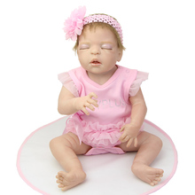 Lifelike Newborn Silicone Vinyl Baby Dolls Full Body 22 Inch Sleeping Reborn Girl Kids Birthday Gift Free Magnet Pacifier Dummy
