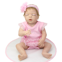 Lifelike Newborn Silicone Vinyl Baby Dolls Full Body 22 Inch Sleeping Reborn Girl Kids Birthday Gift Free Magnet Pacifier Dummy