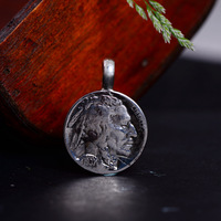 S925 pure silver hand indians bison coin restoring ancient ways men and women with silver pendant silver pendant