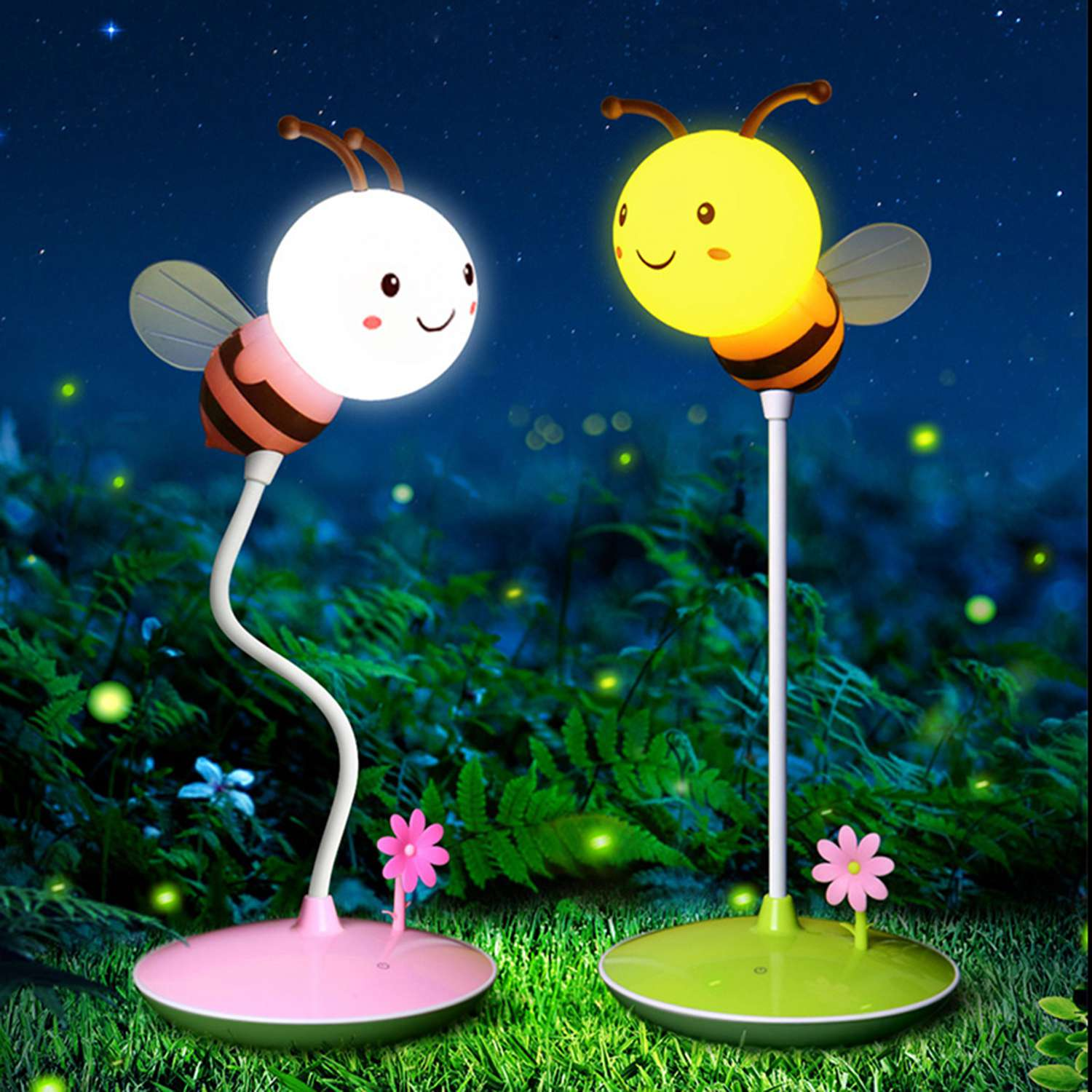 LED Bee Night Light 5VUSB Charge Touching Table Lamp Dimmable Baby Feeding Sleeping Bedroom Night Light Home Decor Creative Gift