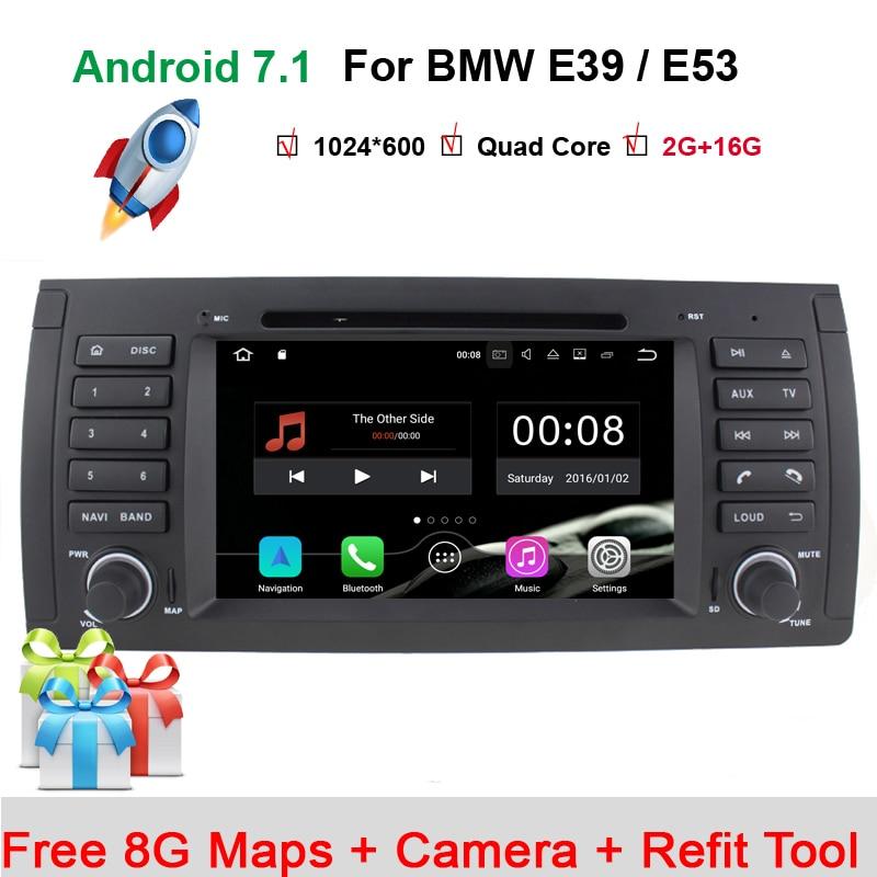 7 pouces 1024x600 HD écran tactile 1 din Android 7.1 voiture DVD Radio stéréo pour BMW E39 E53 X5 Wifi 3G Bluetooth DVR RDS USB IPOD