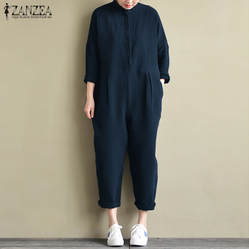 2018 ZANZEA Cotton Linen   Jumpsuits   Women Stand Collar Long Sleeve Overalls Autumn Casual Pockets Solid Loose Rompers Plus Size