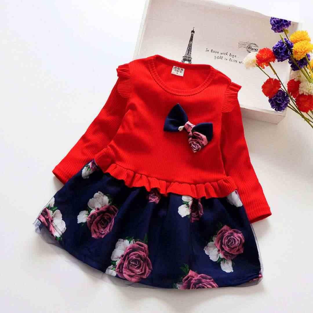בנות שמלת 2019 אביב ובסתיו בנות בגדי ילדים אופנה חדשים נטו נסיכת פרח שמלת תינוק בנות שמלה