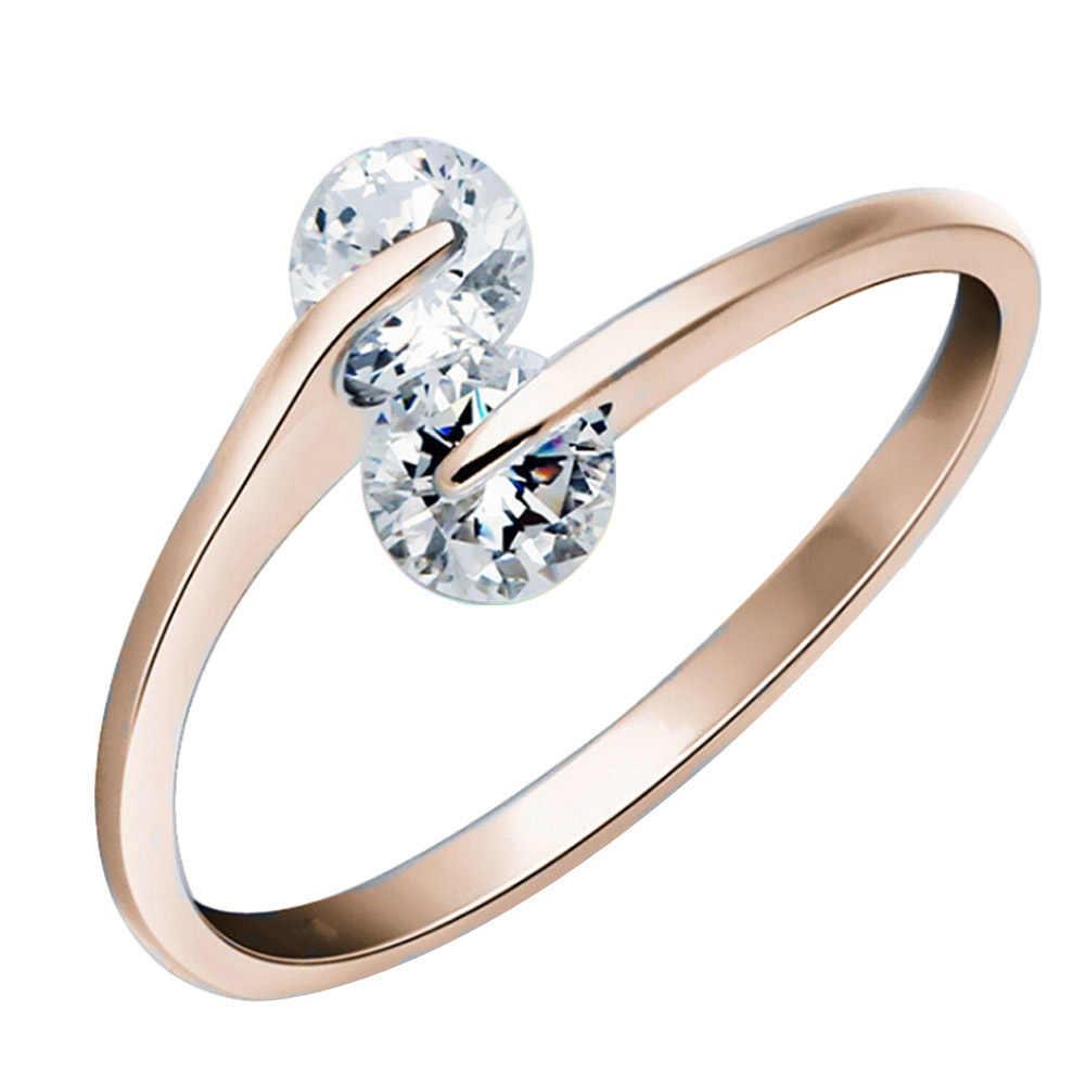 การออกแบบใหม่สไตล์ฤดูร้อนอารมณ์คู่คริสตัลแหวนรุ่นหญิงไม่มีบินคงที่แหวนเงินสำหรับสาวๆ