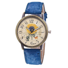 New Woman Personality Vintage Sunflower Print WristWatch Gir