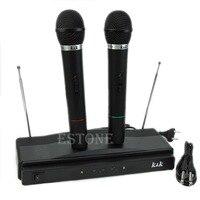 Профессиональная Беспроводная микрофонная система двойной ручной 2 x Mic беспроводной приемник