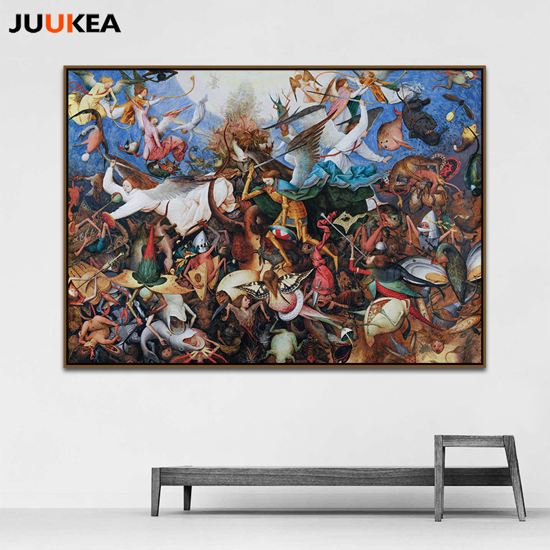 Pieter Bruegel The Fall of the Rebel Angels HD Arts Reproduction Oil Painting Prints On Canvas Wall Pictures For Home Decoration