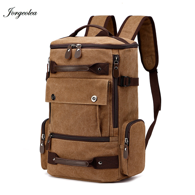 Jorgeolea Brand Stylish Large Capacity Travel Canvas Backpack Male Luggage Shoulders Bag Business Work Satchel Ei0226 stylish metal and canvas design satchel for women