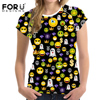 FORUDESIGNS Funny 3D Emoji Pattern Women Summer T Shirt Candy Color Woman Tops T Shirt O