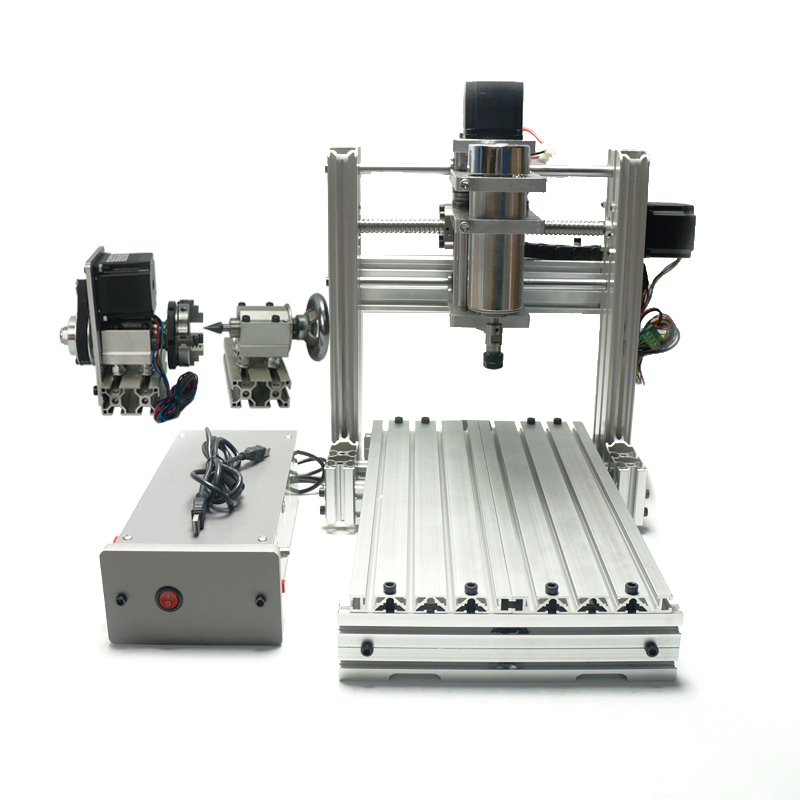 DIY mini cnc 3020 4axis metal milling machine for woodworking 400W with Mach3 softwareDIY mini cnc 3020 4axis metal milling machine for woodworking 400W with Mach3 software