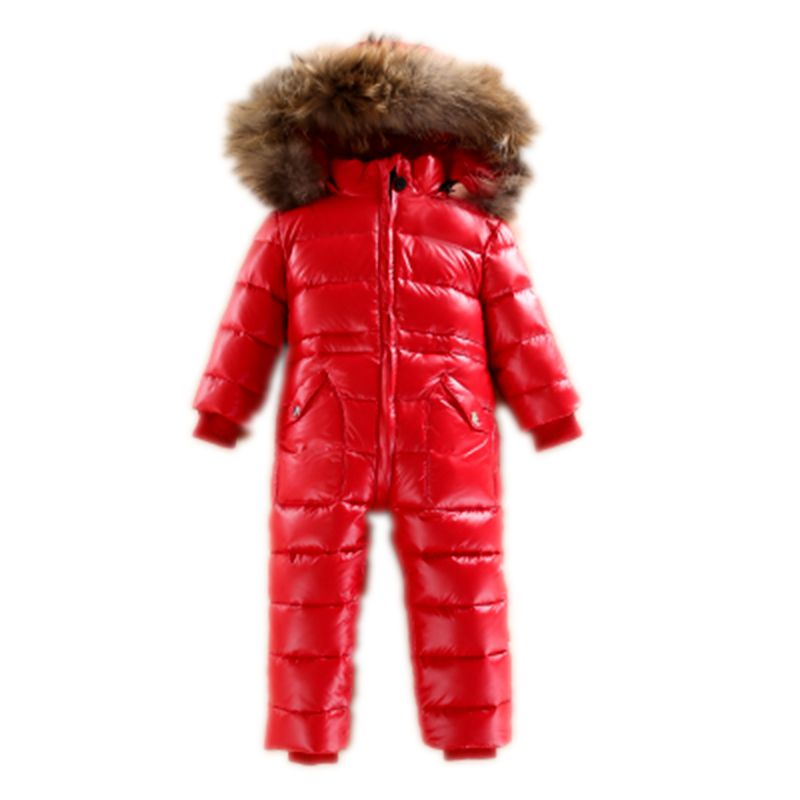 Baby Snowsuit Infant Snow Wear Jumpsuit Kids Duck Down Rompers Fur Collar Boys Winter Rompers Girls Coat Waterproof Windproof winter baby snowsuit baby boys girls rompers infant jumpsuit toddler hooded clothes thicken down coat outwear coverall snow wear