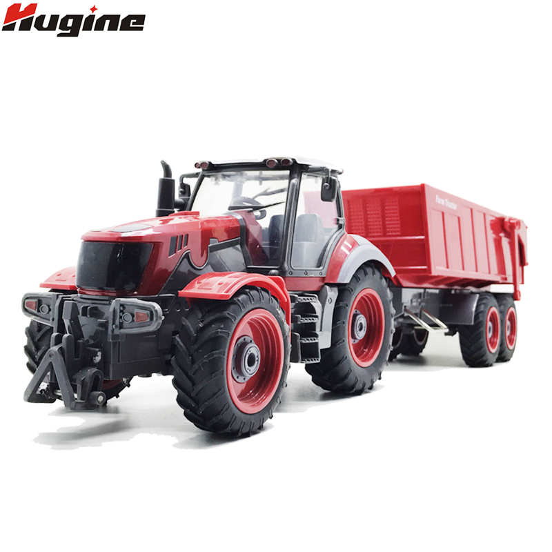 rc truck 4 channel farm tractor plough set paratactic double 5 blade rake remote control farm tractor with plough model toy RC Truck Farm Truck Remote Control Simulation 6 Ch 4 Wheel Tractor Auto Dumper Electronic Hobby Toys For Kids Christmas Gift