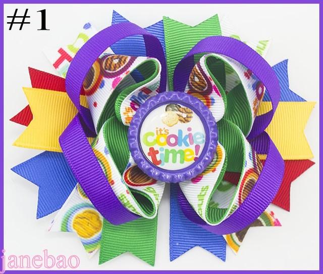 Freies verschiffen 12 stücke Mädchen Scout haar bogen Mädchen Scout haar zubehör cookies haar bogen brownies daisys mädchen haar clips