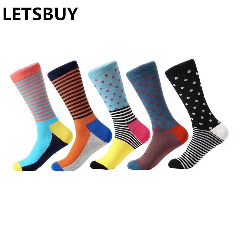 LETSBUY 5 pair/lot mens socks dot & striped bright color funny socks multi-colored long socks for men business casual dress gif