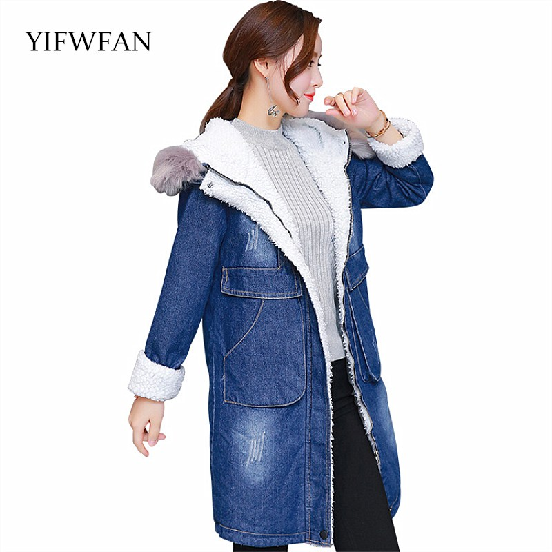 YIFWFAN Brand Denim Winter Jacket Women Faux Fur Hooded Parka Warm Fleece Velvet Pockets Outwear Jeans Oversized Long Coat 3XL цены онлайн