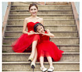 Family fashion child formal dress red bride dress princess dress clothes flower girl skirt performance wear