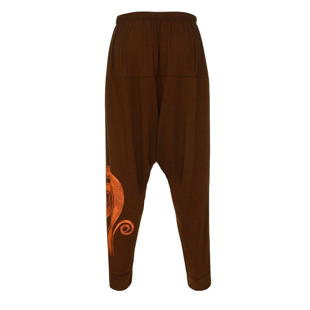 Мужские комбинезоны с этническим принтом, повседневные спортивные штаны с карманами для йоги и работы, брюки с открытым воздухом, мужские спортивные брюки Pantalon Homme - Цвет: Бежевый