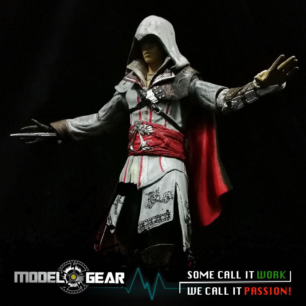 NECA Assassin's Creed II 2 Master Assassin Ezio Auditore Da Firenze White Ver. PVC Model Action Figure Toy 7'' neca planet of the apes gorilla soldier pvc action figure collectible toy 8 20cm