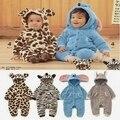 Inverno Natal Do Bebê Macacão Roupa Do Bebê Outfits infantil-roupas Grossas Hoodies do Velo Animal bebê macacão traje do bebê