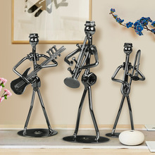 Home Decor Creative Retro Metal Crafts Small Iron Man Band Style Brief Wrought Miniature Figurines Musical Knick Knacks
