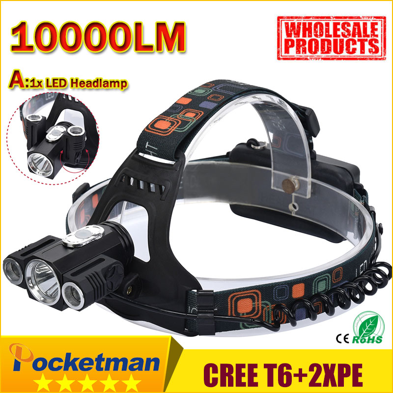 HOT LED Headlight 10000LM 3 LEDs rotating CREE T6+2*XPE Camp Hunting Torch flashlight Headlamp tail with magnet for 2*18650 z50