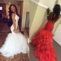 Sexy Backless Blanco Africano Red Sirena Vestidos de Baile 2016 de Las Colmenas Del Organza Largos vestidos de Graduación Vestido de Fiesta Vestidos de Noche WJT