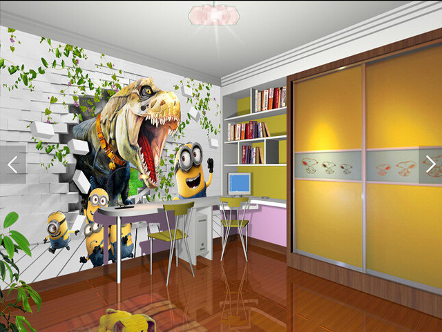 Custom Animation Wallpaper 3D Dinosaur Chase Little Yellow Man For Childrens Room Living Bedroom Backdrop Papel De Parede