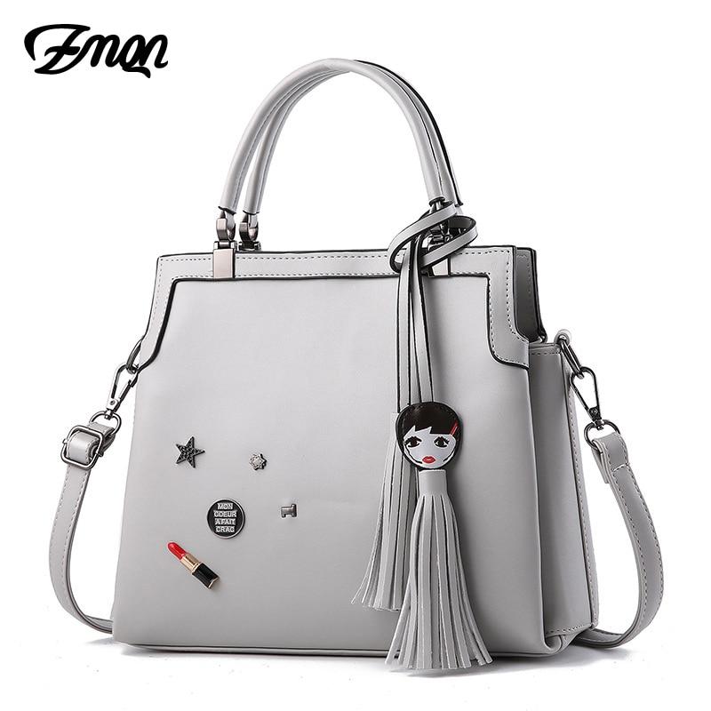 ZMQN Women Leather Handbags Luxury Brand Bags Designer Tote Handbag High Quality Fashion Tassel for Women Crossbody Bag Sac A835