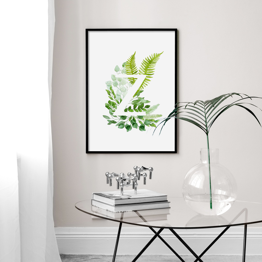 26 English Letters Flower Plant Alphabet Wall Art Canvas Painting Nordic Posters And Prints Wall Pictures For Living Room Decor in Painting Calligraphy from Home Garden