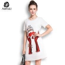 153c47e181 AOFULI Plus size character print dress stylish plus size summer white short  sleeve knee-length casual dress L- 3xl 4xl 5xl A3631