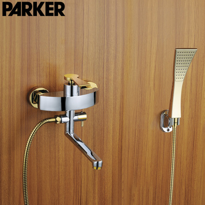 Copper faucet lengthened bathtub faucet 360 golden bath shower faucet drawing simple suit european blackened washing toilet rooms copper black simple shower bath shower faucet handsprays