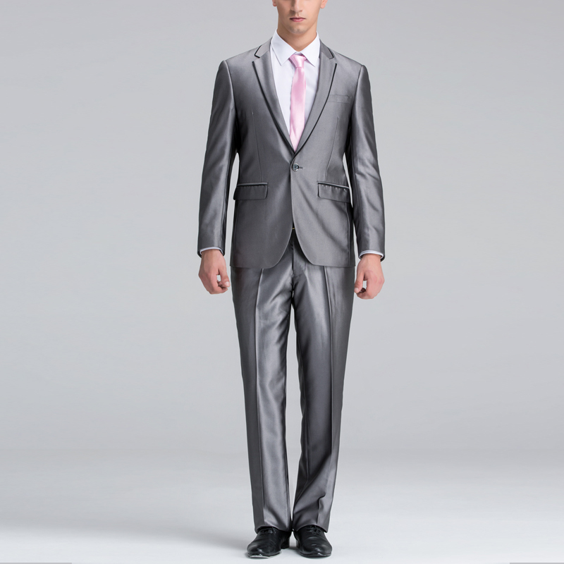 Modern silver grey banquet suit Single breasted suit Men wedding ...