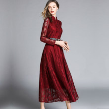 2019 summer Casual Women sexy Lace Dress Belt slim waist Fashion Long Sleeve Elegant Slim A-line lady Party Dresses streetwear(China)
