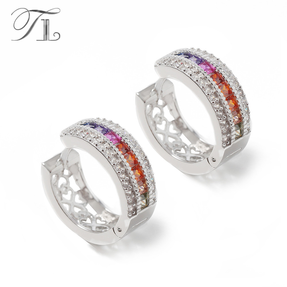 TL New 925 Sterling Silver Hoop Earrings Inlaid Rainbow Austria Crystal Multi-color Cubic Zircon Eternal Gift Earrings For Women цена 2017
