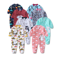 2016 New Baby Rompers Winter Baby Girl Infant Jumpsuit Cartoon Animal Dinosaur Rompers Coral Fleece Cotton