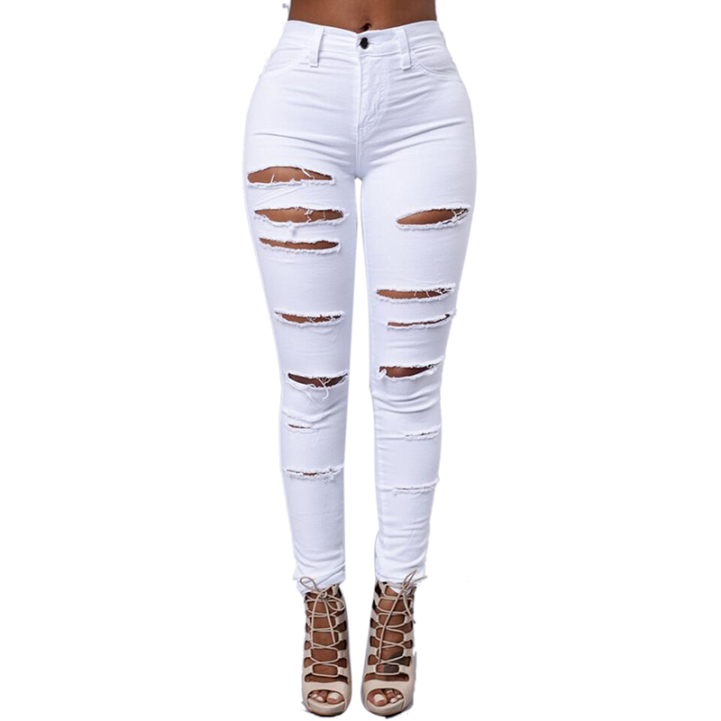 HUIHONSHE Cotton High Elastic Imitate Jeans Woman Solid Skinny Pencil Pants Slim Ripped Jeans For Women Black White Ripped XXL