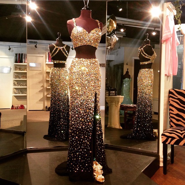 Dazzling Luxury Gold Crystal Rhinestone 2 Piece Prom Dresses Real Images  Backless High Front Split Sexy Black Prom Dress 891075071