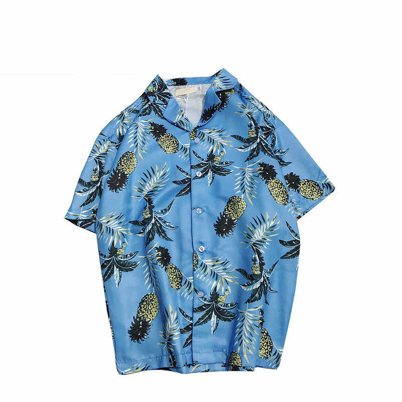 Мужская пляжная гавайская рубашка тропическая летняя рубашка с коротким рукавом мужская брендовая повседневная одежда свободная хлопковая рубашка на пуговицах плюс размер