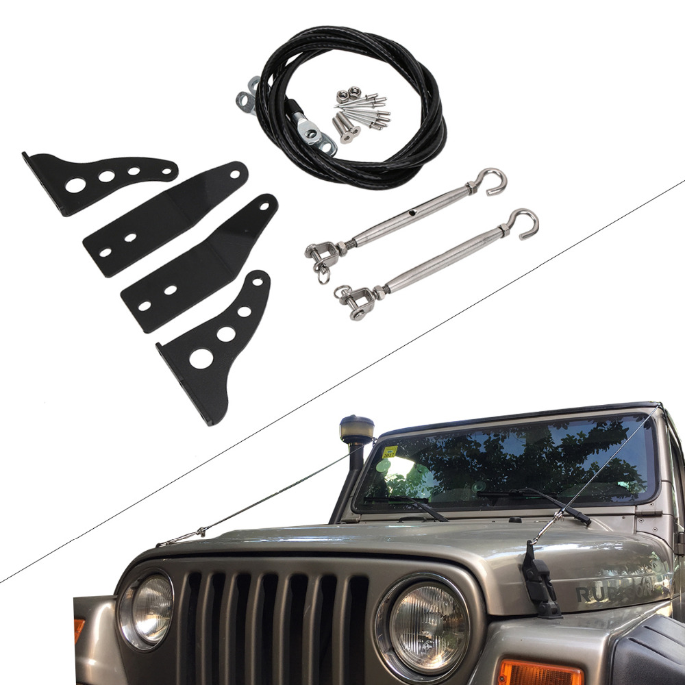 US $47 45 30% OFF|WISENGEAR For Jeep Wrangler TJ 1997 2006 Limb Riser Kit  Military Auminum Rope & Hardware Windshield Protector CEK143-in Body Kits