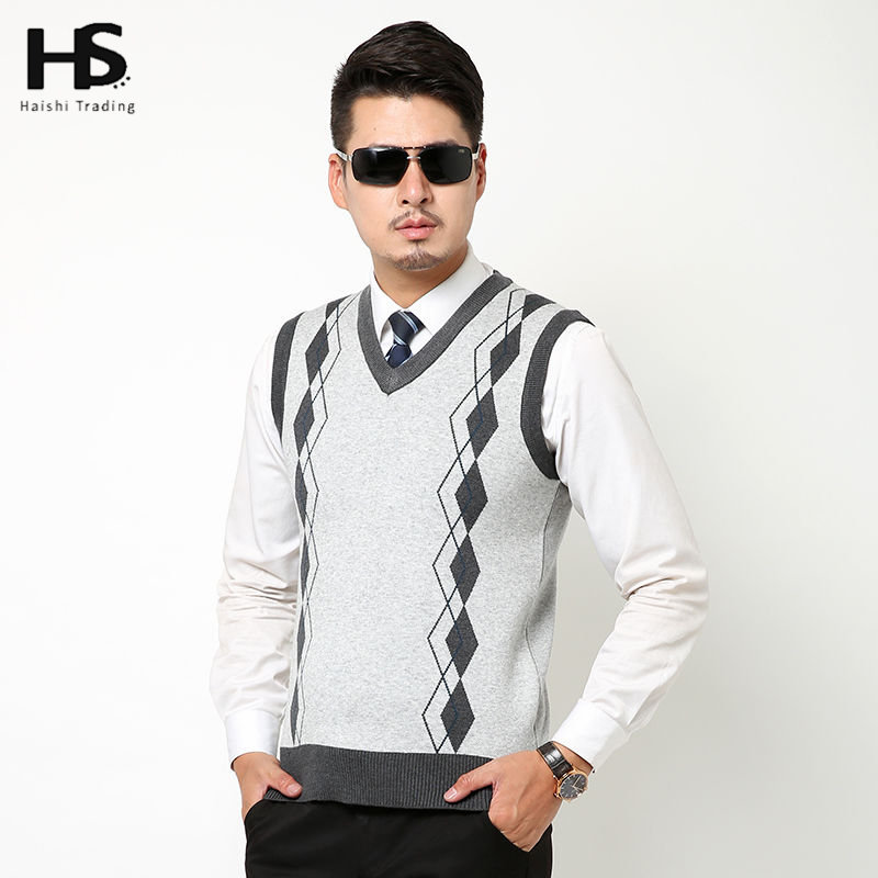 Autumn Winter New Classic Sweater Vest Men Business Argyle V Neck ...